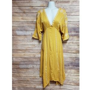 Bohemian Yellow Gauze Embroidered Maxi Dress, L